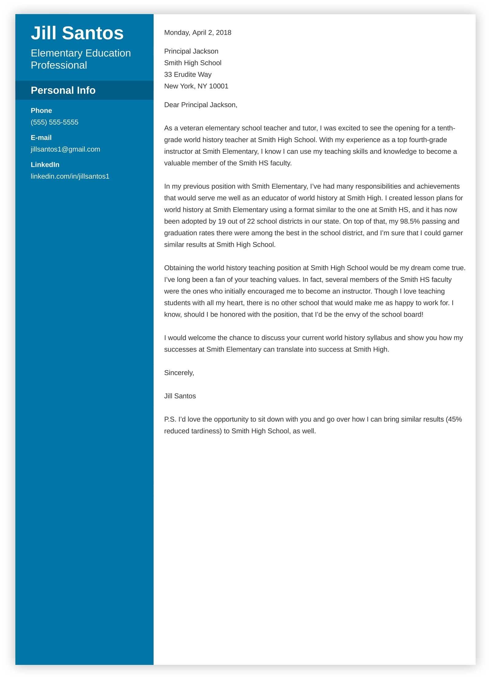 teacher cover letter example