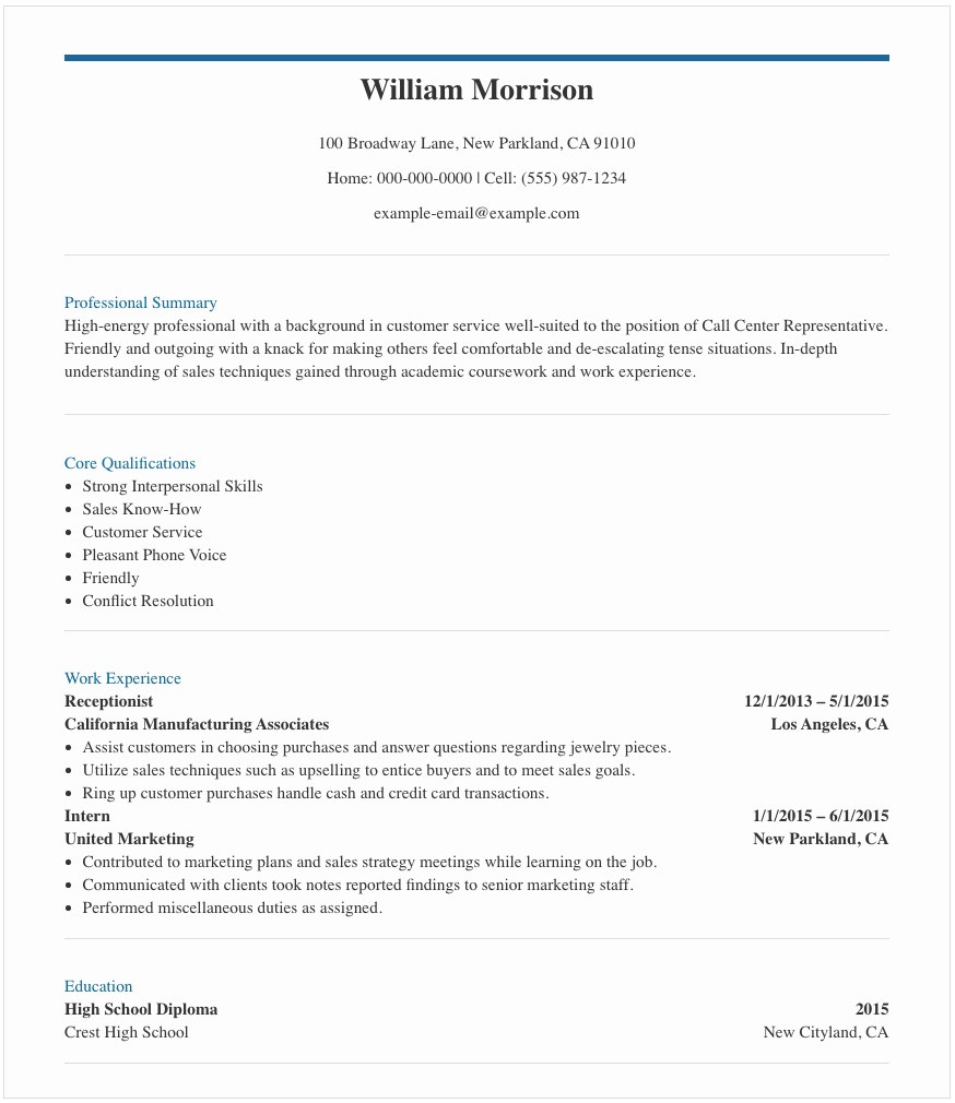 Resume Sample Call Center Agent No Experience Resume Samples for Call Center Agent In the Philippines