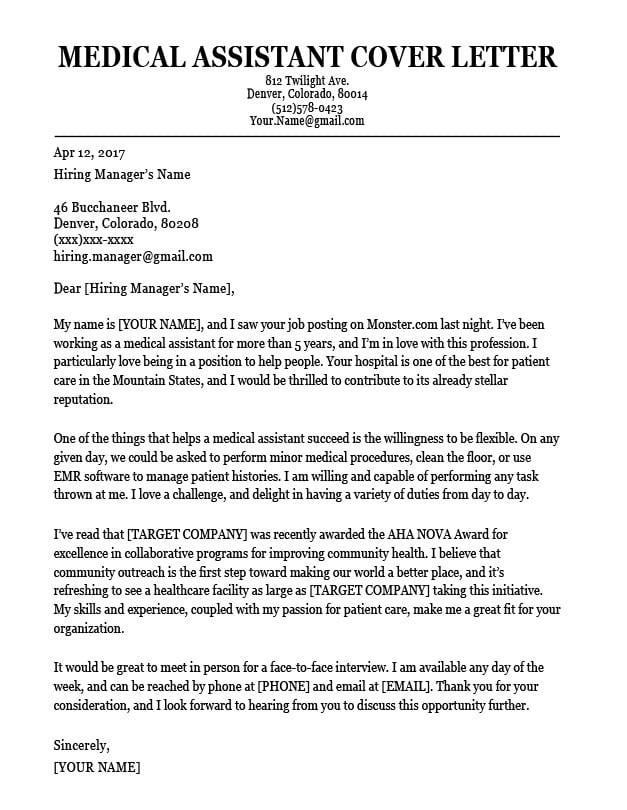 Sample Cover Letter for Resume for Medical assistant Medical assistant Cover Letter Sample