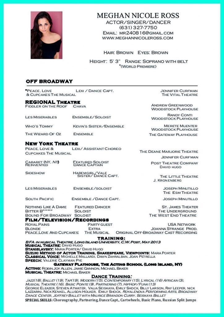 dancer resume examples