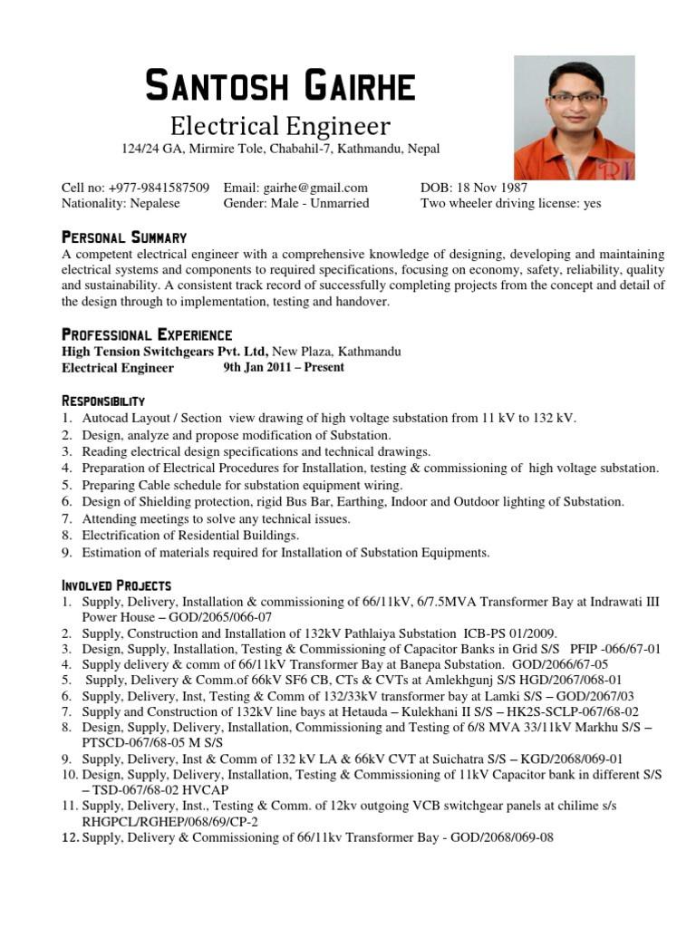 fre resume format electricalml