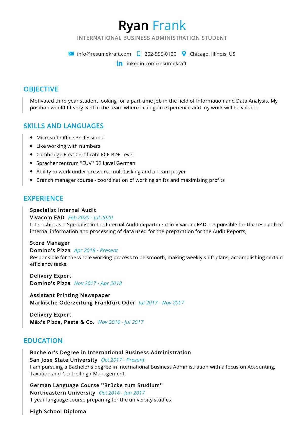 business student resume sample