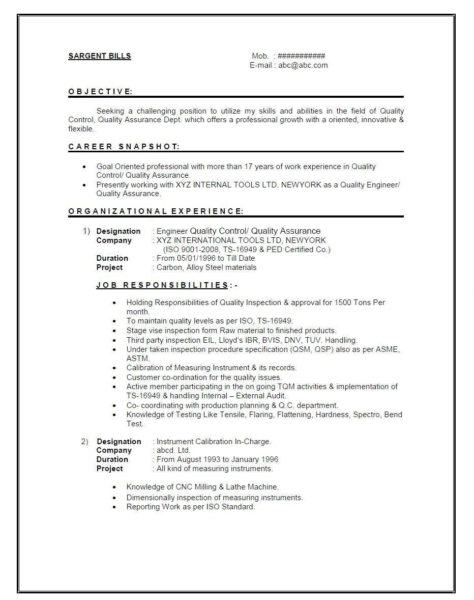 experienced mechanical engineer resume pdf