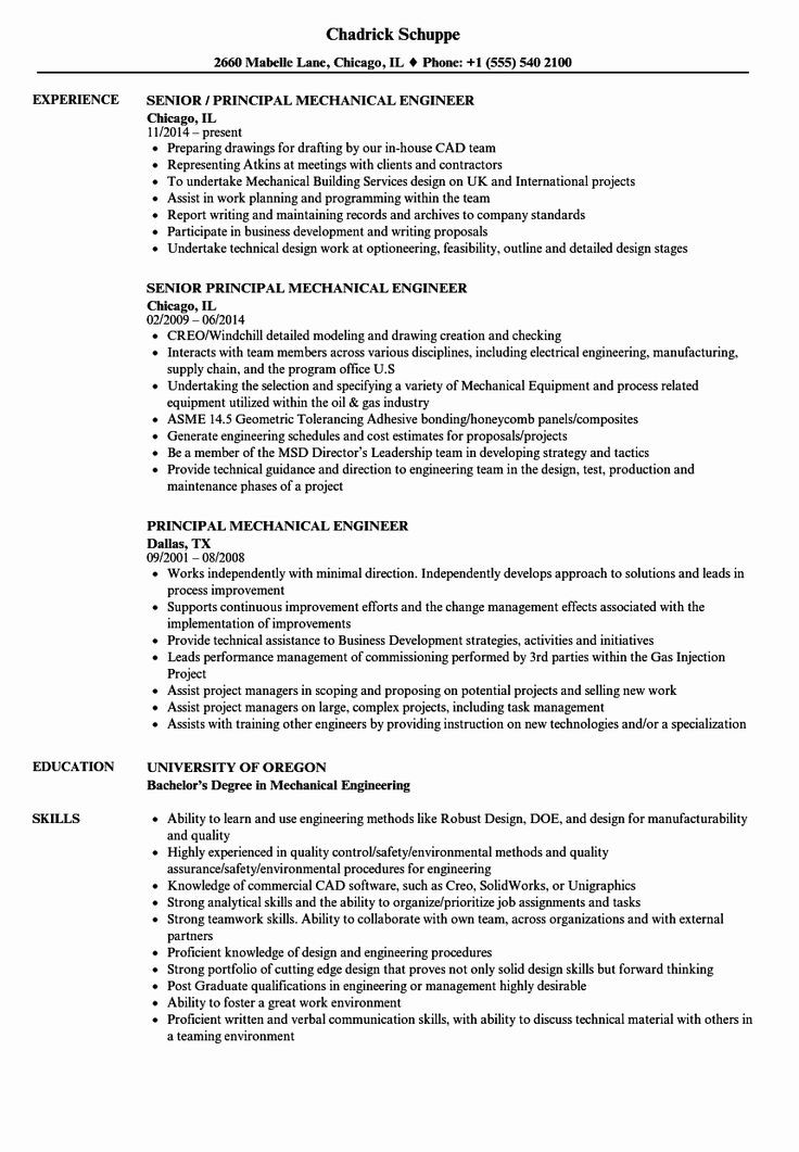 Sample Resume for Experienced Mechanical Engineer Pdf Experienced Mechanical Engineer Resume Unique Principal