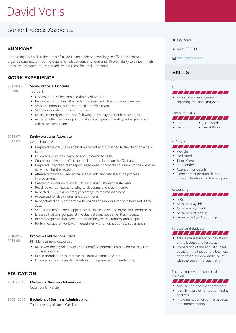 Sample Resume for Experienced Process associate Process associate Resume Samples and Templates