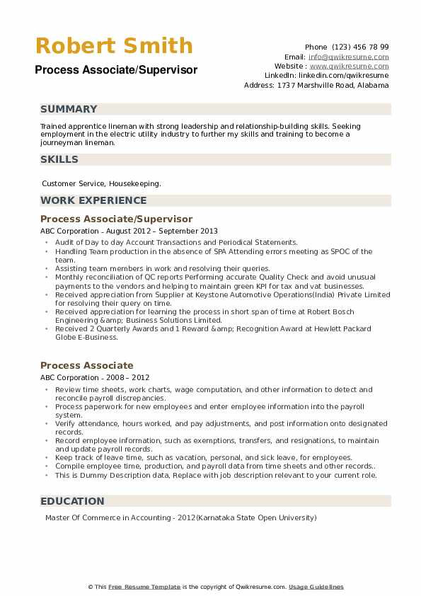 process associate
