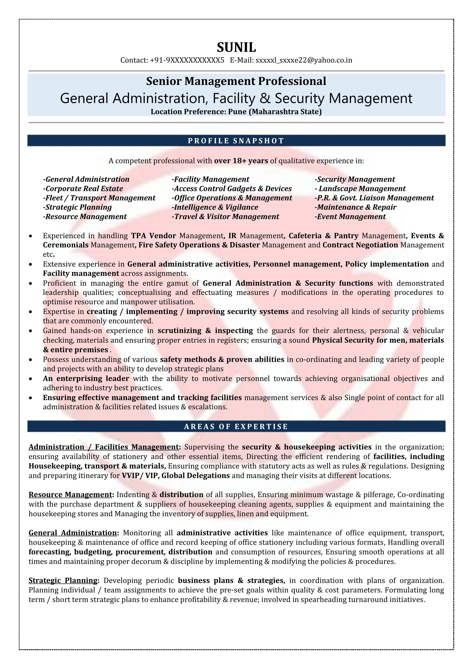administration resume sample format