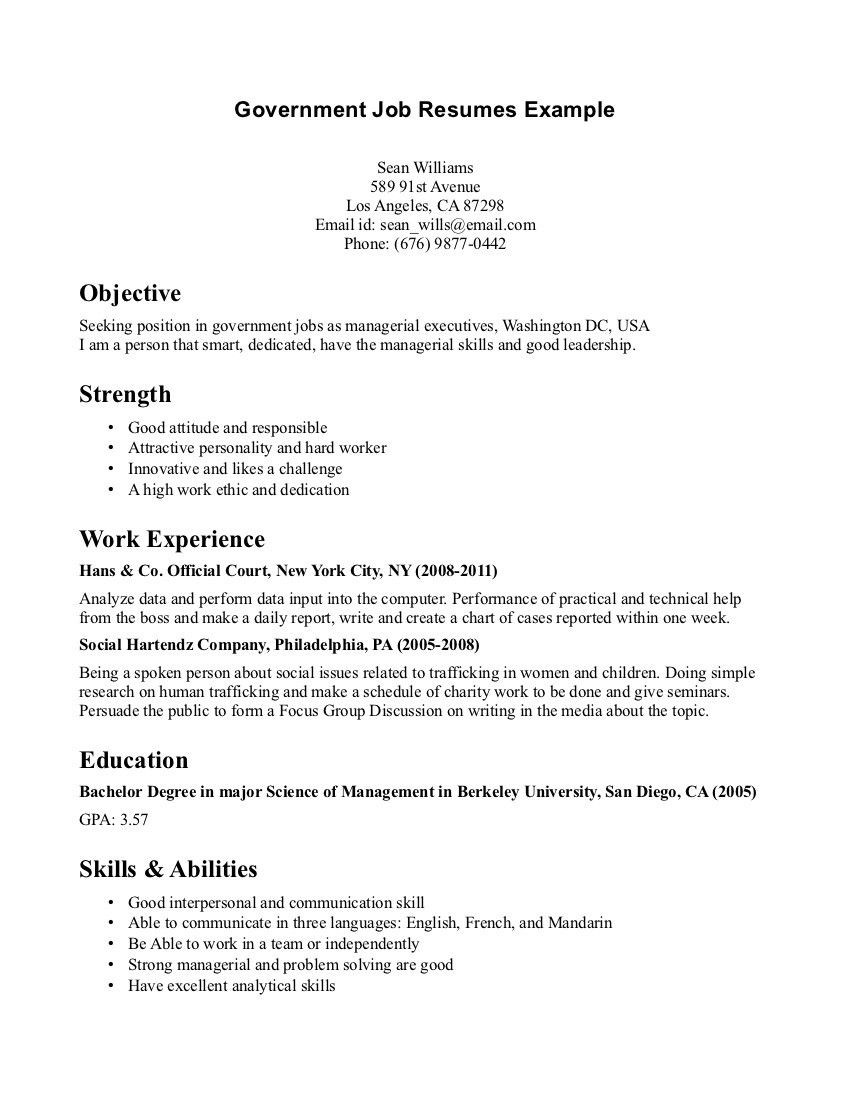 Sample Resume for Government Job In India Template for Professional Resume Job Resume Examples, Resume ...