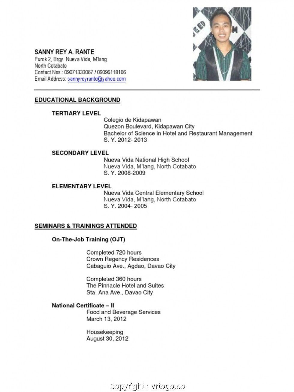 Sample Resume for Hotel and Restaurant Management Fresh Graduate Simply Sample Resume for Hrm Fresh Graduates Job Application ...