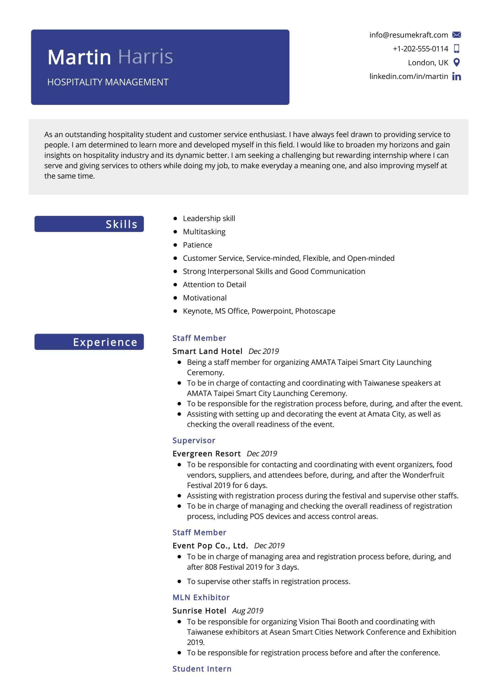 hospitality management resume sample