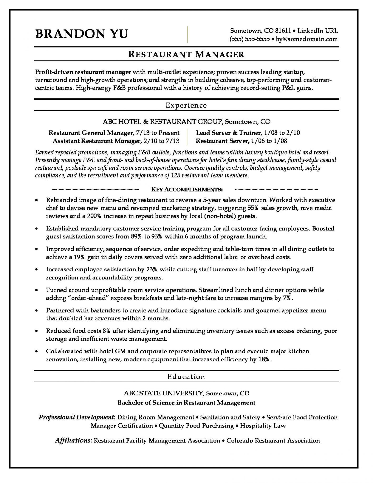 Sample Resume for Hotel and Restaurant Management Restaurant Manager Resume Sample Monster.com