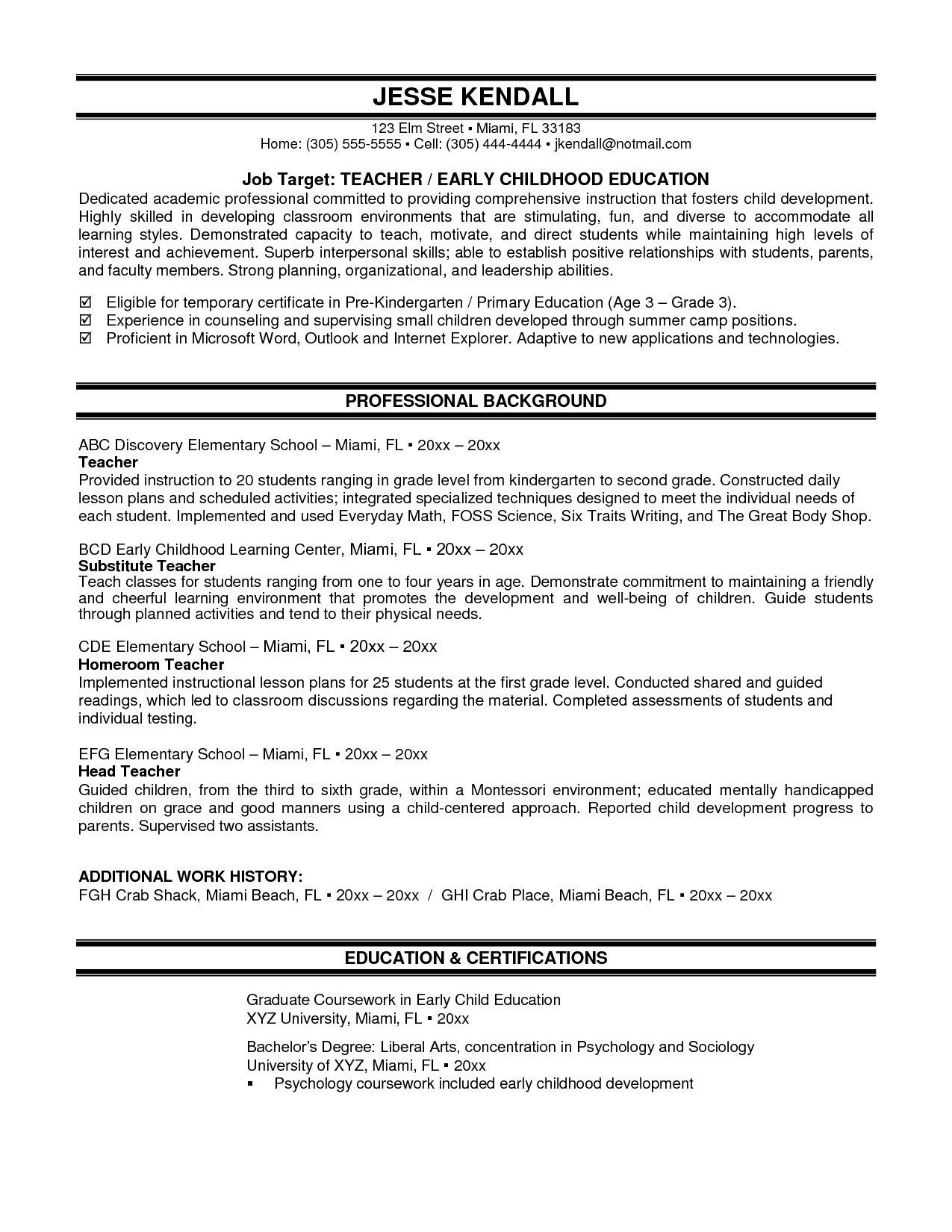 resume templates for montessori teacher resume examples