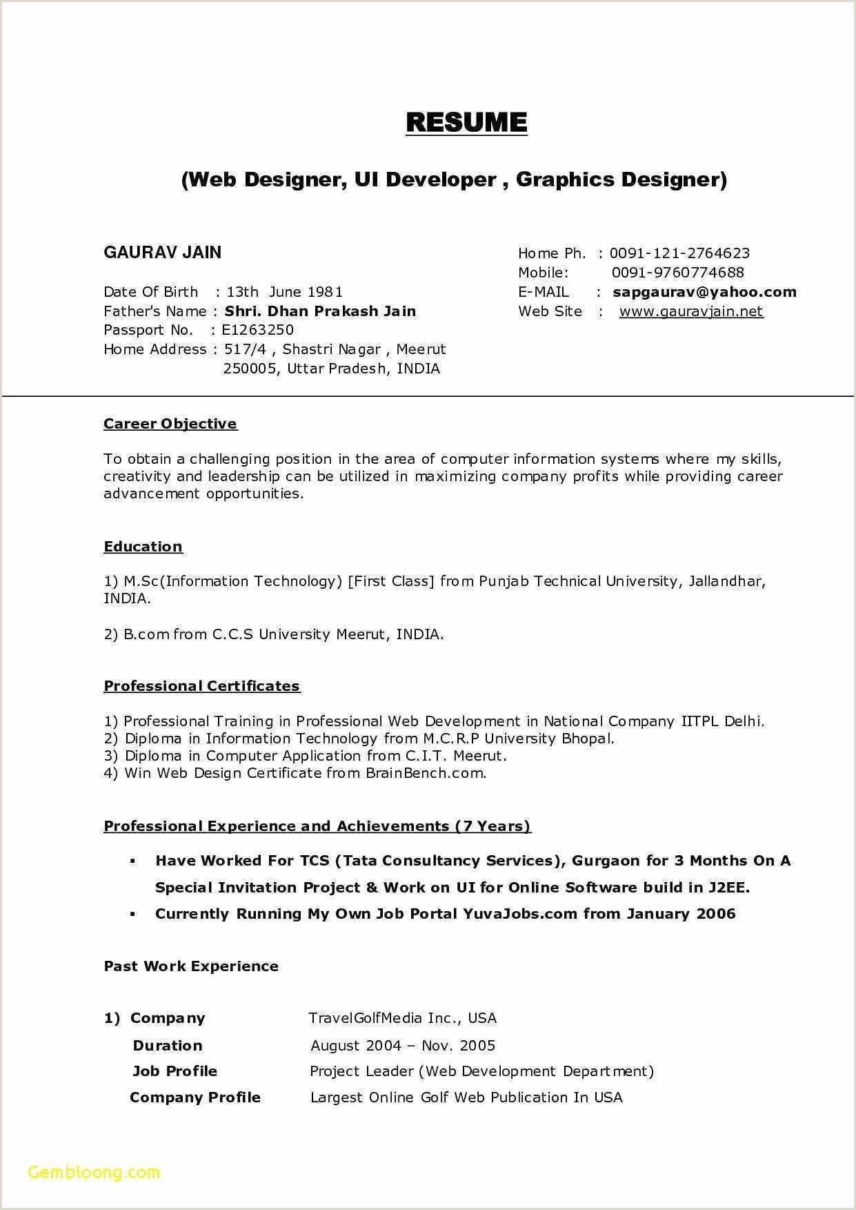 graduate fresher resume resume format