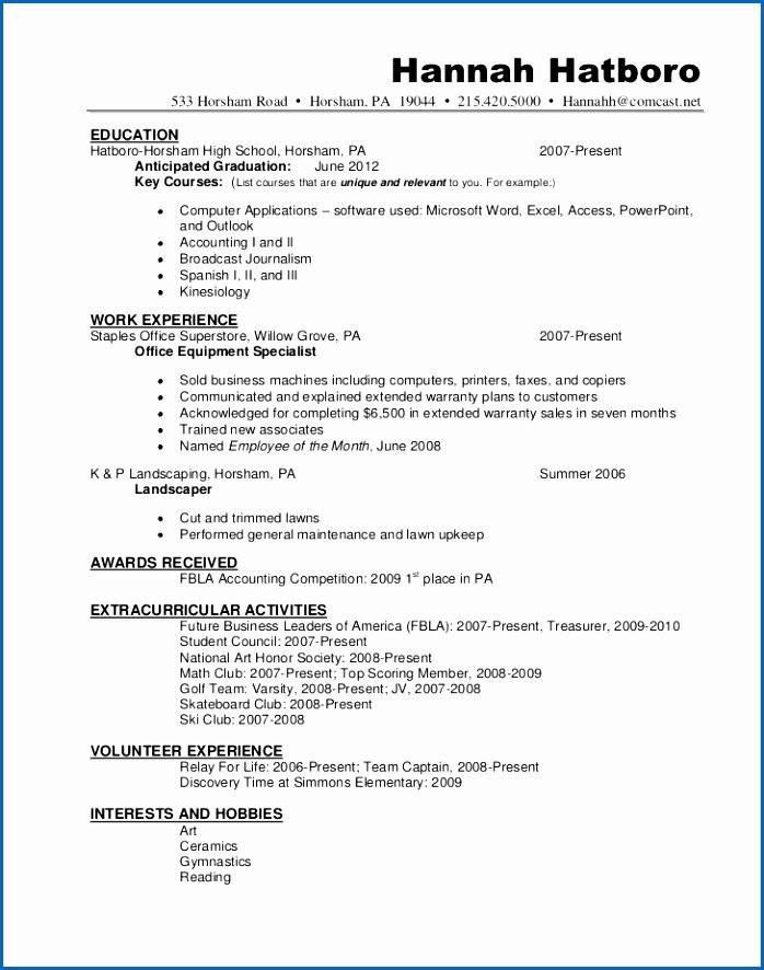 Sample Resume for National Honor society National Honor society Resume