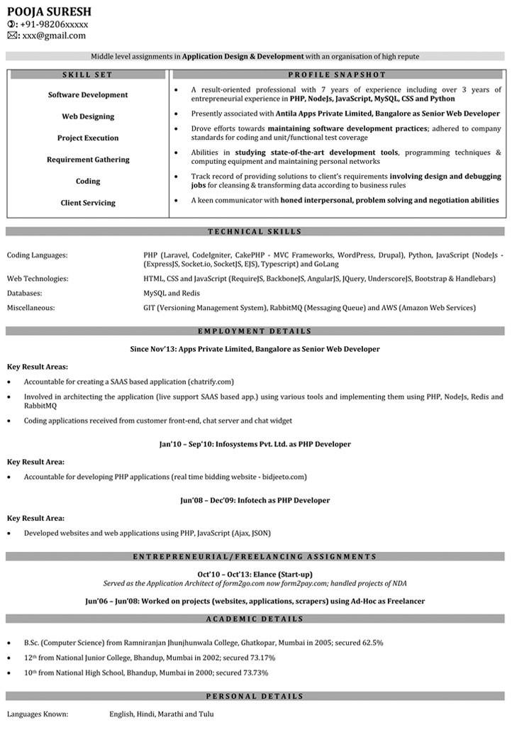 Sample Resume for Net Developer with 1 Year Experience 1 Year Experience Cv Template Resume Examples