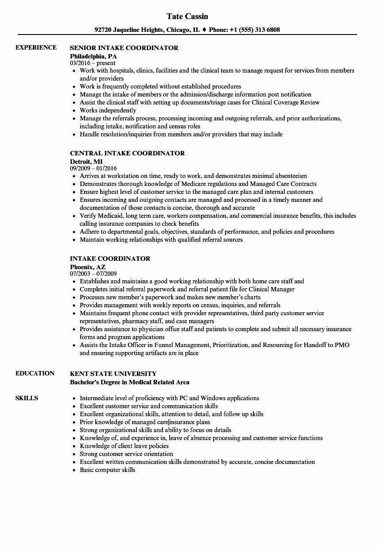 Sample Resume for Patient Service Representative Patient Care Coordinator Job Description Resume Inspirational ...