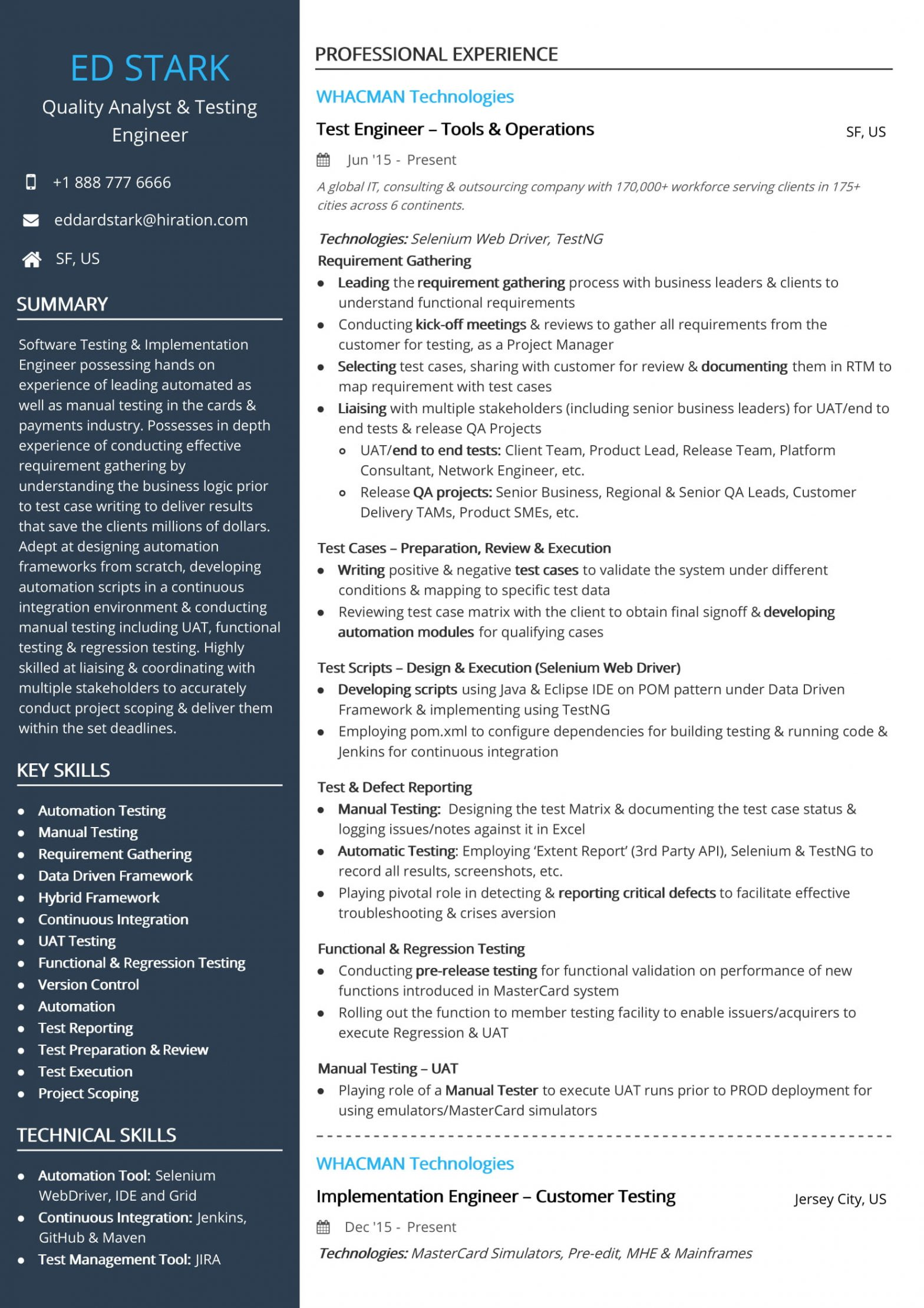 Sample Resume for Performance Test Engineer Free Test Engineer Resume Sample 2020 by Hiration