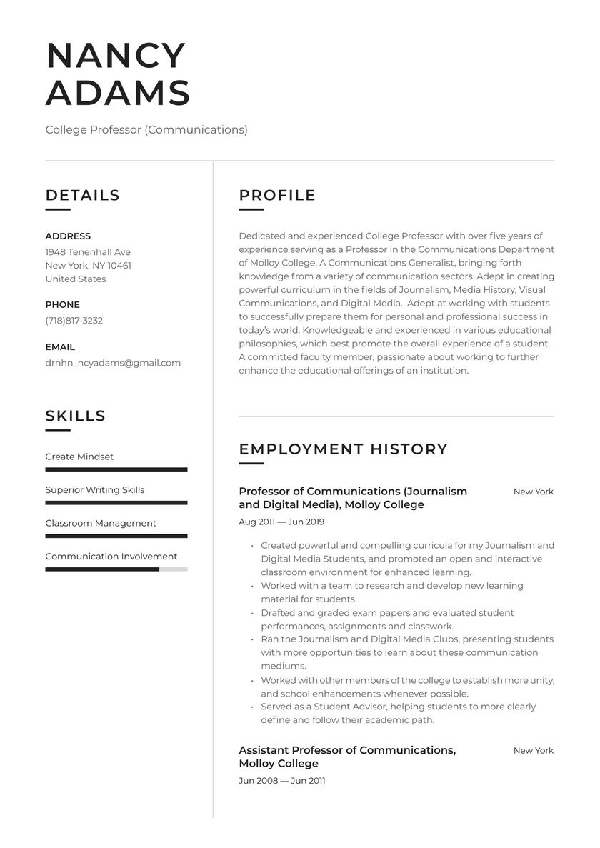 Sample Resume for Professors In Universities College Professor Resume Examples & Writing Tips 2021 (free Guide)