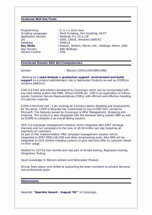 Sample Resume for Unix Shell Scripting √ 20 Unix Shell Scripting Resume