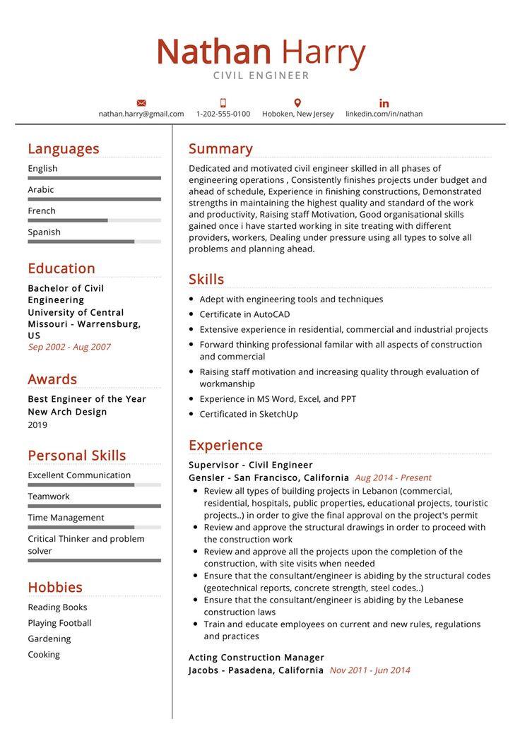 Senior Civil Engineer Resume Sample Free Download the Most Re Mended Professional Civil Engineer Resume