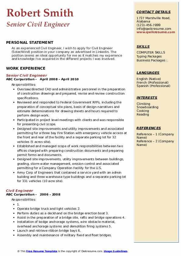 Senior Civil Engineer Resume Sample Pdf Civil Engineer Resume Samples