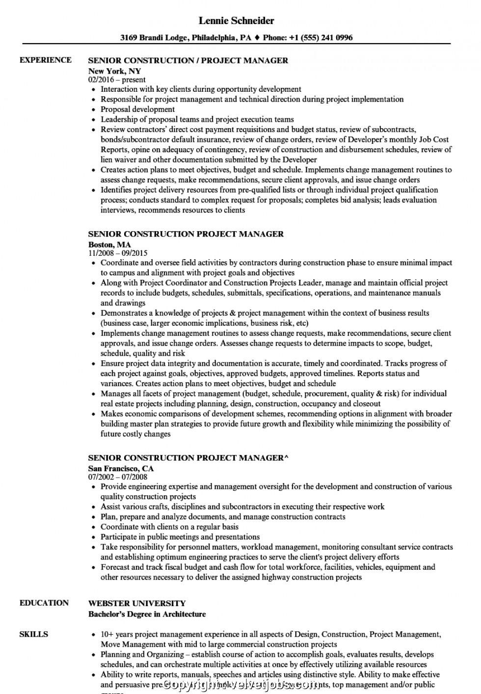 Senior Construction Project Manager Resume Samples Simple Construction Project Manager Resume Sample Senior