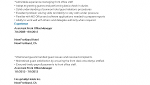 Assistant Front Office Manager Resume Sample assistant Front Fice Manager Resume Sample