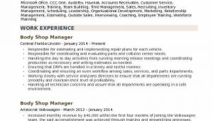 Auto Body Shop Manager Resume Sample Auto Body Shop Technician Resume February 2021