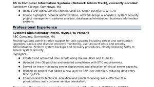 Entry Level Business Administration Resume Sample Sample Resume for An Entry-level Systems Administrator Monster.com