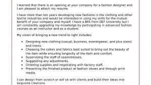 Fashion Designer Resume Cover Letter Sample Fashion Cover Letter Sample