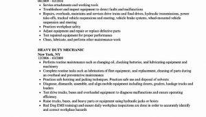 Heavy Duty Mechanic Apprentice Resume Sample Mechanic Job Description Resume Inspirational Heavy Duty