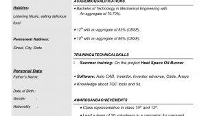 Mechanical Engineering Resume Sample for Freshers Resume Templates for Mechanical Engineer Freshers