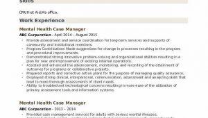 Mental Health Case Manager Resume Sample Mental Health Case Manager Resume Samples