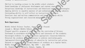 Middle School Science Teacher Resume Samples Resume Samples Middle School Science Teacher Resume Sample