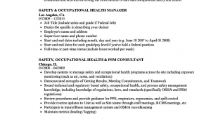 Occupational Health and Safety Resume Sample Safety & Occupational Health Resume Samples