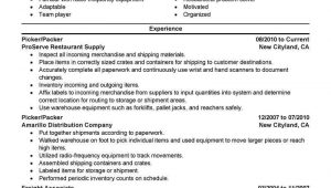 Order Picking and Packing Resume Sample Best Picker and Packer Resume Example From Professional
