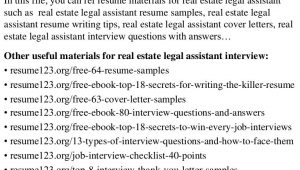 Real Estate Legal assistant Resume Sample top 8 Real Estate Legal assistant Resume Samples