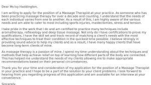 Resume Cover Letter Samples for Massage therapist Massage therapist Cover Letter Examples, Samples & Templates …