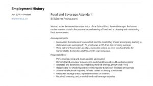 Resume Sample for Food and Beverage Service 22 Food & Beverage attendant Resume Samples Free