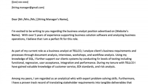 Sample Business Cover Letter for Resume Business Analyst Cover Letter Example & Writing Tips
