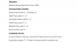 Sample College Resume for High School Seniors 11 12 College Resume Samples for High School Senior