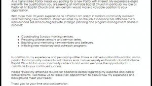 Sample Cover Letter for Pastor Resume Pastor Cover Letter Sample