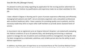 Sample Cover Letter for Resume Registered Nurse Nursing Cover Letter Example