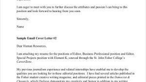 Sample Email Cover Letter for Sending Resume Free 6 Sample Resume Cover Letter formats In Pdf