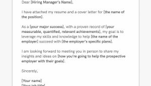 Sample Email for Sending Resume to Company How to Email A Resume and Cover Letter to An Employer