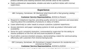 Sample Entry Level Customer Service Resume Customer Service Representative Resume Sample Monster.com