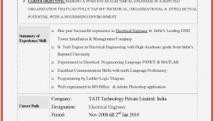 Sample Objective In Resume for Electrical Engineer Electrical Engineering Resume Objective New Resume Samples for …