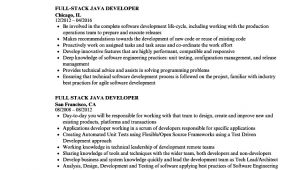 Sample Resume for 1 Year Experienced Java Developer Java Developer Resume Sample