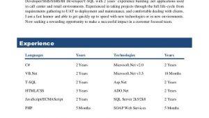 Sample Resume for 2 Years Experience In Sql Sql Server Developer Ssis Ssrs Bi Developer T Sql with 2