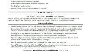 Sample Resume for A Custodian Position Custodian Resume Sample